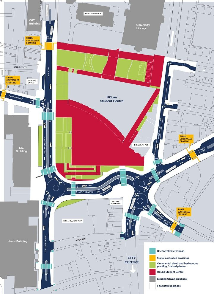 The new layout for the Adelphi roundabout area