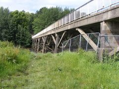 The Old Tram Bridge is currently fenced off