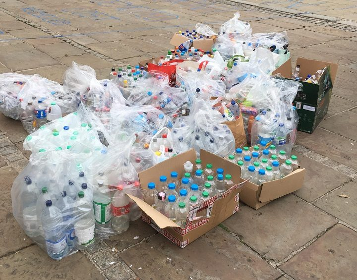 Here's all the plastic bottles which were used for the artwork Pic: Oxheys