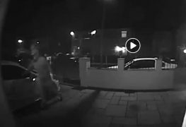 Footage shows a man reaching for the car door handle and trying to open it Pic: Preston Police