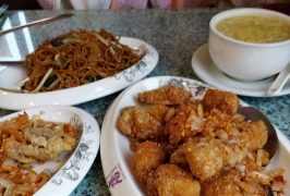 Clockwise: noodles and beansprouts, chicken and sweetcorn soup, salt and pepper chicken and soft shell crab