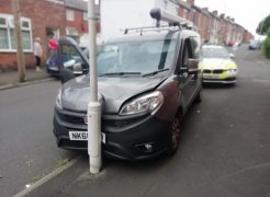 The van hit the lamppost to end the chase Pic: LancsRoadPolice