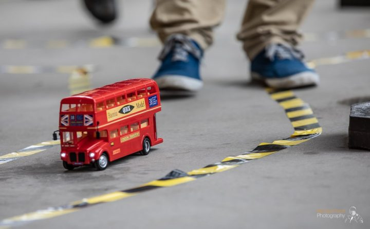 The remote control bus on the move Pic: Michael Porter