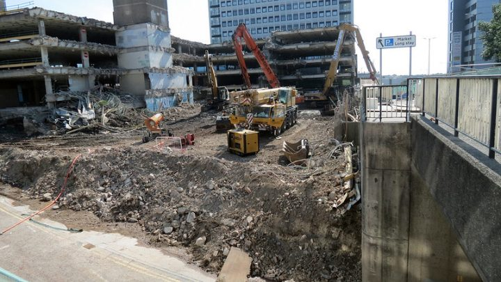Demolition work at the former Market Hall car park Pic: Stephen Melling