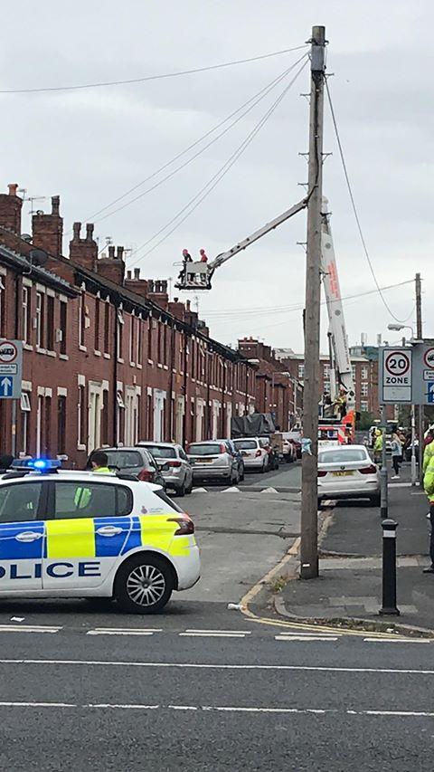 Police are using fire service vehicles to speak to the man involved Pic: Alex Christopher