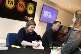 Author Rose Edwards signing books at the Northern Young Adult Literary Festival earlier this year