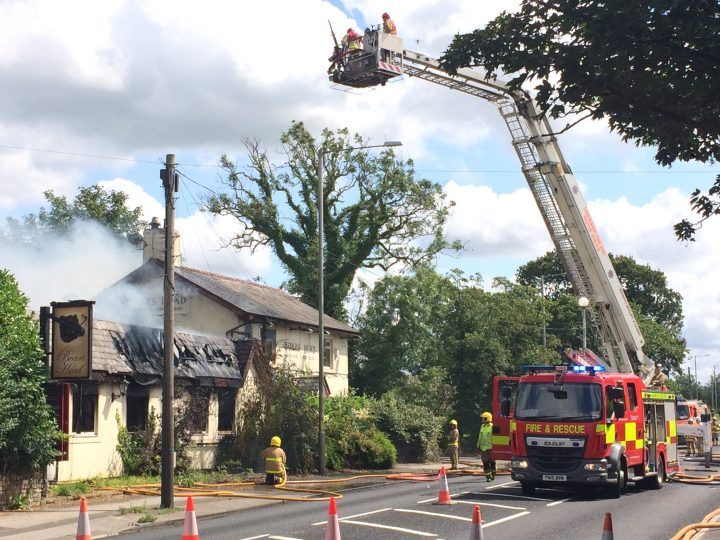 Fire crews at the Boars Head Pic: Nigel Trundle