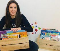 Rachel with her Book Swap Boxes