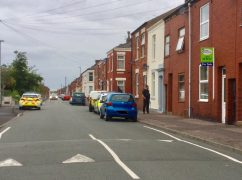 Police in Ripon Street during Sunday evening Pic: Plungington Labour