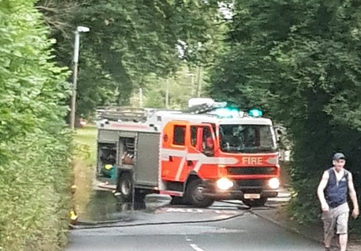 Firefighters in Whinfield Lane during Friday evening Pic: Lynda Procter