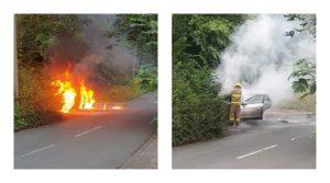 Fire crew tackling the flames near Ashton Park Pic: Steven Hartley