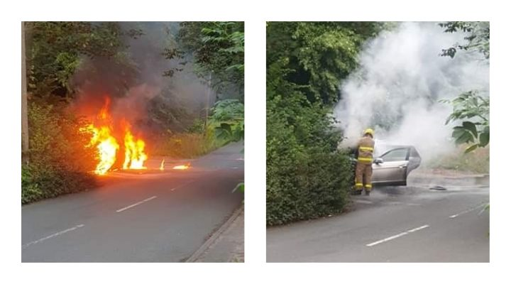 Fire crew tackling the flames near Ashton Park Pic: Steven Hartley
