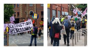 Climate change activists in Fishergate Pic: Sandra Kirkman