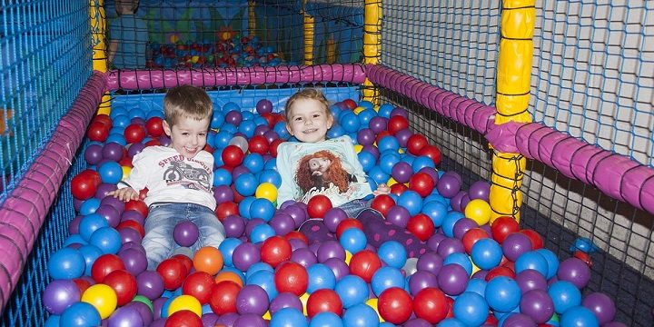 In the ball pit at Giddy Kids