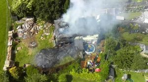 Aerial view of the fire in Houghton Pic: LFRSdrone