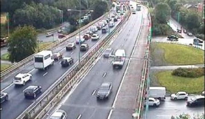 Queues on the M55 at the Broughton junction Pic: Motorway Traffic Cameras