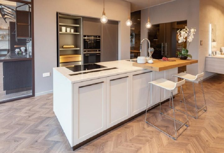 One of the kitchens in the showroom