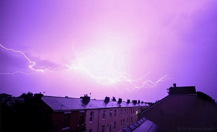 Lightning over the rooftops in Fishwick Pic: Sonia Bashir