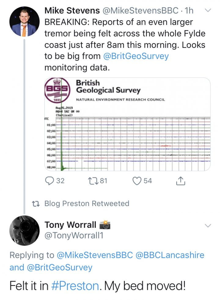 Tony Worrall's tweet says he felt the bed move