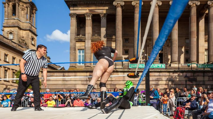 Wrestling action infront of the Harris Pic: Paul Yates/Preston Photographic Society