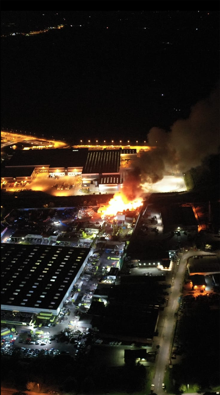 Aerial view of the fire at Recycling Lives Pic: Stephen Melling