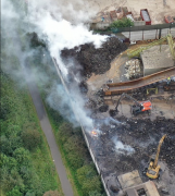 An aerial view of the fire site Pic: Stephen Melling