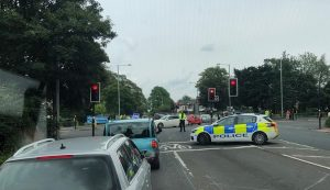 Police shut off the crossroads near Sainsbury's and Preston North End Pic: Stephen Melling