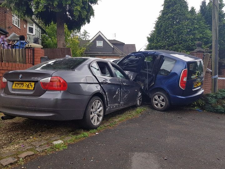The damage can be seen to both vehicles Pic: LancsRoadPolice