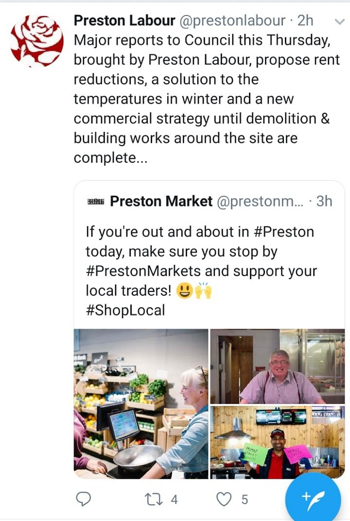 The tweet was sent on Saturday morning but deleted within a few hours Pic: Blog Preston