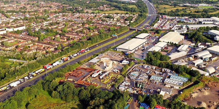 Aerial view of the M6 closure at 8.20am on Monday Pic: Stephen Melling