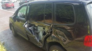 Damage to the side of one of the vehicles Pic: LancsRoadPolice