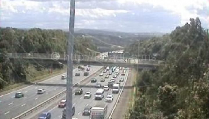 Heavy traffic on the M6 around Junction 31A on Sunday Pic: MotorwayCameras