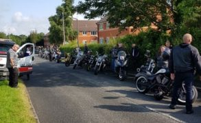 Bikers lining up awaiting the funeral procession Pic: Blog Preston