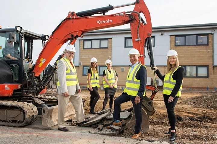 On site at the hospital from l-r: Prof Charles Davis, Caroline Lane, Claire Wignall, Gwam Rajiah and Sara Rajiah