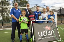 Some of the children taking part in the soccer schools