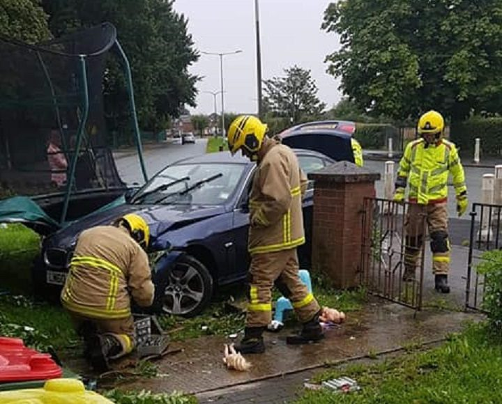 Firefighters making the scene safe in Ribbleton Hall Drive Pic: Vicki Louise/Blog Preston