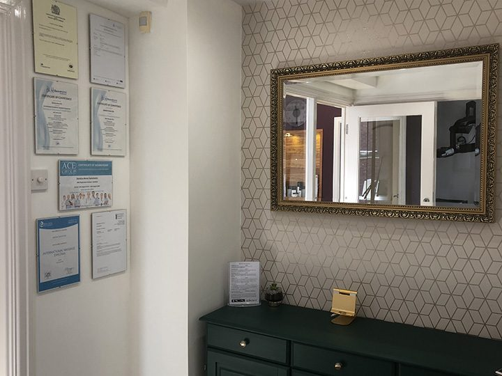 Certificates displayed in the salon