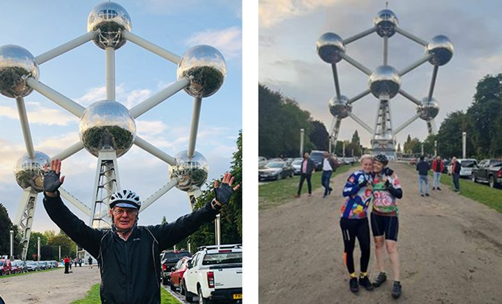 John (left) and Rachelle and Rebecca all complete the London to Brussels cycling challenge