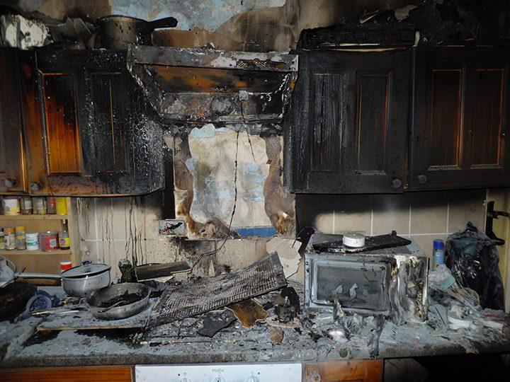 Kitchen after a fire