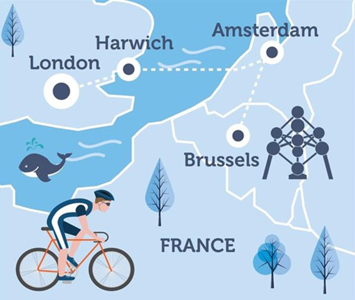 Map of the London to Brussels cycle challenge