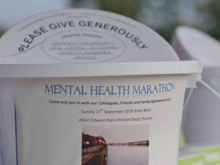 A fundraising bucket at the Mental Health Marathon Pic: Kostek Poland