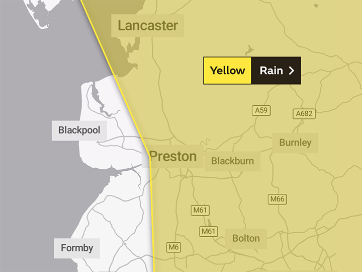 The yellow warning just covers Preston