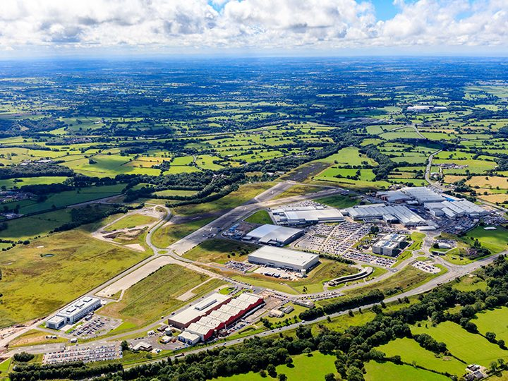 Aerial view of Samlesbury Enterprise Zone, one of the schemes on show at Expo Real