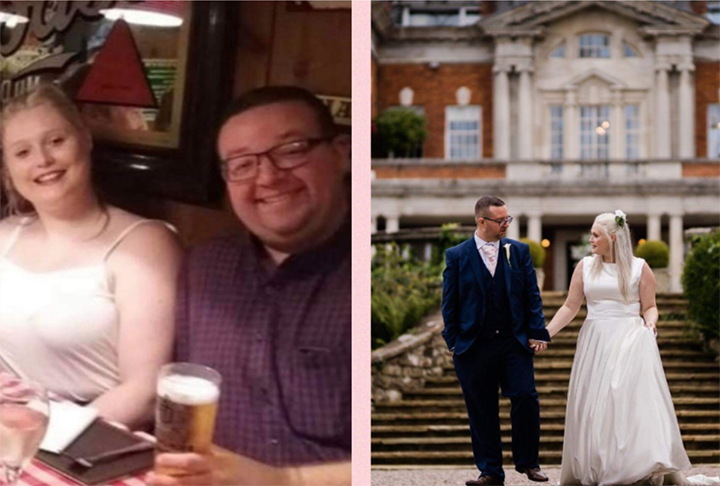 Paul and Amy before and after their weight loss
