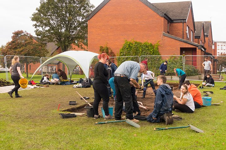 Students busy at dig site in Brook Street Pic: David Toase