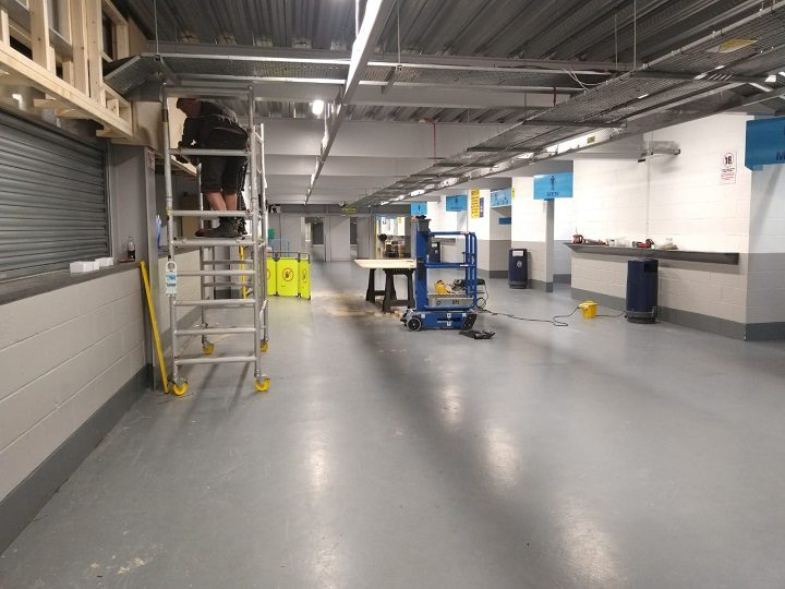 Inside the Kop end concourse where we'll be bedding down Pic: Blog Preston