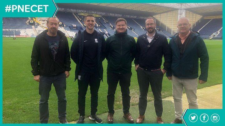 The Big PNE Sleep Out team: John Parkinson (Foxton), Tom Drake (PNE), Michael Treadwell (Biffa), Ed Walker (Blog Preston) and Jeff Marsh (Foxton)