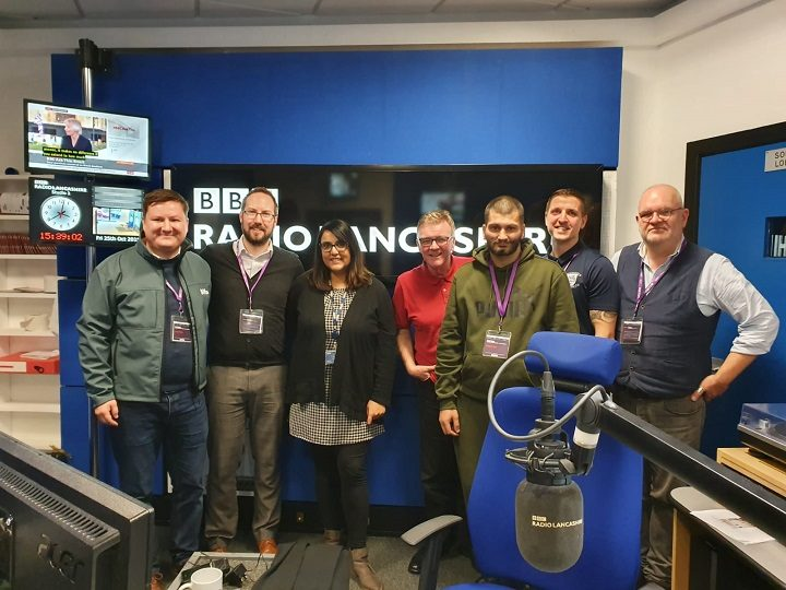 The Big PNE Sleep Out team with Nishma and Gilly at the BBC Radio Lancashire studios