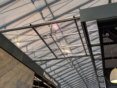 Canopy prototype above one of the Market Hall walkways