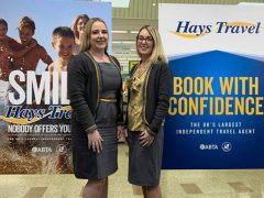 Kelly Edmondson and Gail Holland at Hays Travel Preston Marina Pic: Hays Travel Preston Marina